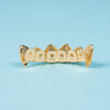 Gold Plated CZ Grillz Set w Fangs - Gold Teeth - Gold Grillz - Rois D'or
