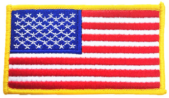 American Flag patch with gold outline