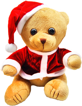 Christmas Themed Plush Teddy Bear Toy Novelty Dressed in Red With Santa Hat