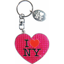 I Love New York Pink Glitter Keychain