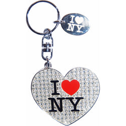 I Love New York White Glitter Keychain
