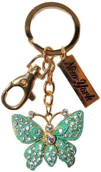 New York Butterfly Rhinestone Keychain