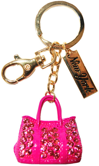 New York Pink Bedazzled Bag Keychain