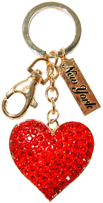 New York Heart Rhinestone Keychain