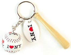 I Love New York Keychain - Bat and Ball, New York Keychains, New York Souvenirs