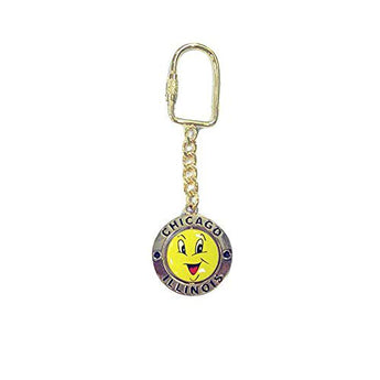 Chicago City Illinois State Smiley Swivel Souvenir Metal Durable Novelty Keychain