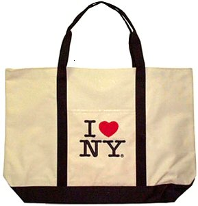 I Love New York Tote Bag - White Lrg, New York Tote Bags, New York Souvenirs