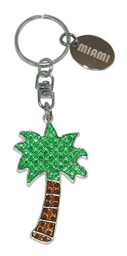 Tropical Diamond Encrusted Palm Tree Keychain