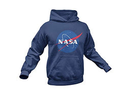 NASA Space Logo Printed Hoodie Sweatshirt- Kangaroo Pocket Unisex Hooded Sweater (Navy, Small)