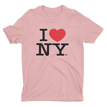 I Love NY New York Short Sleeve Screen Print Heart T-Shirt Light Pink (Large)