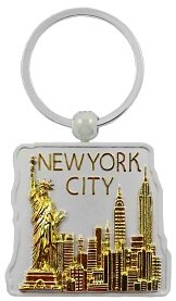 New York Keychain - Jumbo Gold/Square, New York Keychains, New York City Souvenirs