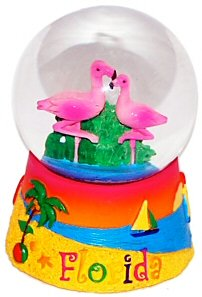 Great Places To You Florida Snow Globe - Flamingo 65MM, Florida Snow Globes, Florida Snow Domes