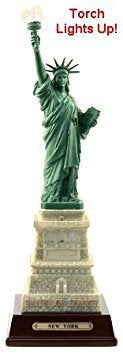 Statue of Liberty Replica 10 1/2 Inches Tall with Color Changing Torch Light, Statue of Liberty Souvenir