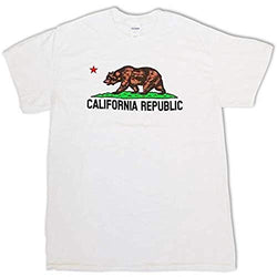 CityDreamShop California Republic Bear Short Sleeve White T-Shirt (Small)
