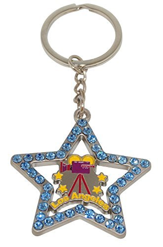 Los Angeles Hollywood Movie Camera Keychain With Hollywood Star Shape