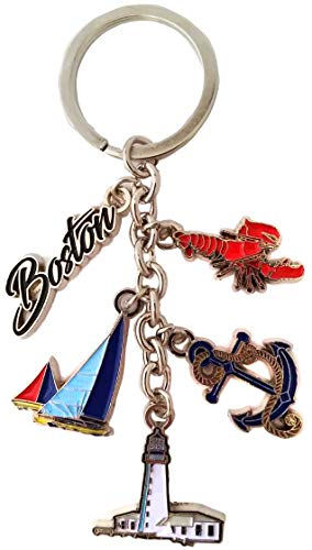 Boston Charm Key Chain Harbor Anchor- Sail Boat and Lucky Lobster