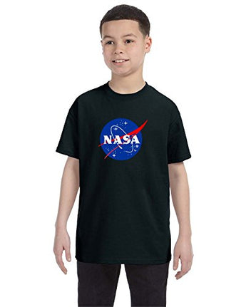 NASA Meatball Logo Youth Shirt Space Shuttle Rocket Science Geek Boys Kids GirlsTee (Small, Black)