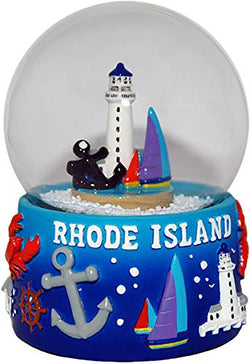 Collection of City and States Detailed 65mm Snow Globes (Rhode Island)