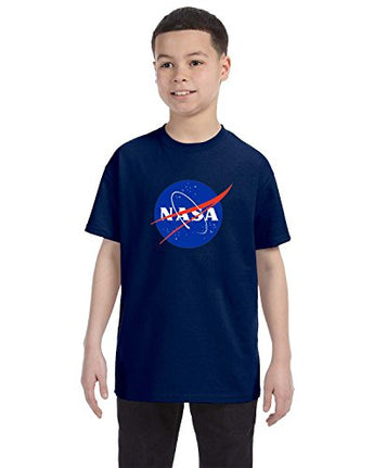 NASA Meatball Logo Youth Shirt Space Shuttle Rocket Science Geek Boys Kids GirlsTee (X-Large, Navy)