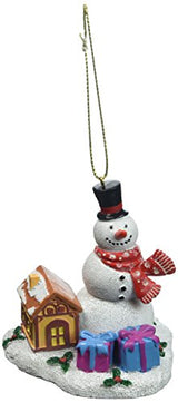 Snowman of Christmas with Hat, Christmas Scarf and Carrot with a Snowy Base Hanging or Standing Christmas Ornament- Featuring a Log Cabin