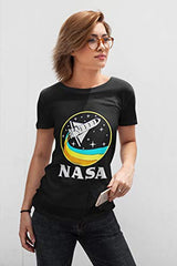 CityDreamShop NASA Retro Rocket-Ship Short Sleeve T-Shirt (Medium) Black