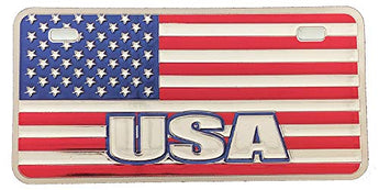 USA License Plate Magnet featuring American Flag with Embossed USA Design | Perfect Gift for USA Citizen or Military Veteran | Great Souvenir Collection For Patriotic People