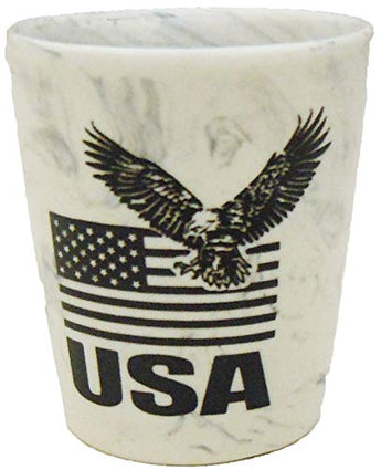 USA Shot Glass with American Flag & Eagle Design for Men & Women | USA Marble Shot Glass | Perfect Souvenir Gift Collection for People who Loves America