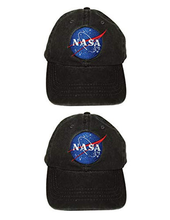 NASA Worm Space Embroidery Logo Black Cap Value 2 Pack | Fashionable Unisex Cotton Low Profile Distressed Vintage Baseball Cap Trucker Hat