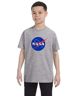 NASA Meatball Logo Youth Shirt Space Shuttle Rocket Science Geek Boys Kids GirlsTee (Large, Gray)