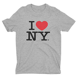 I Love NY New York Short Sleeve Screen Print Heart T-Shirt Gray Large