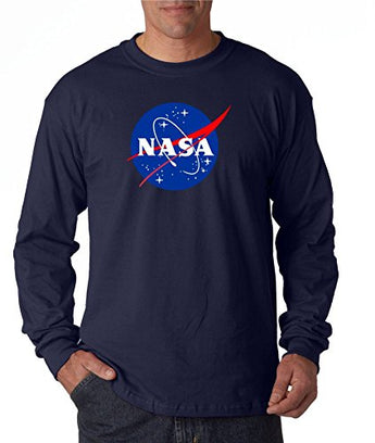 NASA Long Sleeve Shirt Meatball Logo Space Shuttle Rocket Science Geek Tee, Navy, XX-Large
