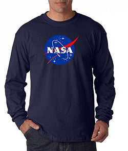 econoShirts NASA Meatball Logo Long Sleeve Shirt Space Shuttle Rocket Science Geek Tee (Large, Navy)