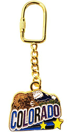 Colorado State Mouflon Mountain Gold Plated Novelty Durable Keychain, Metallic, 4