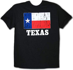CityDreamShop State of Texas Distressed Flag Short Sleeve T-Shirt (M) Black
