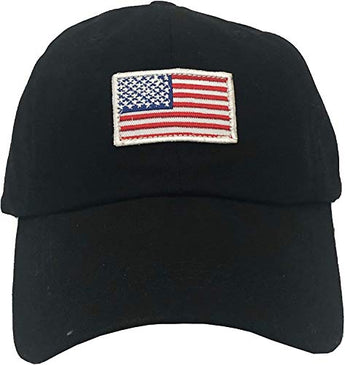 Embroidered American City Stylish Multi-Color Cap | Unisex Cotton Baseball Cap (USA Flag Black)