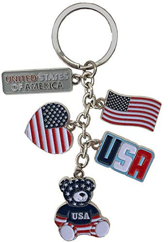 USA Flag Key Ring Heart Shape 3 Charm Silvertone Panda Keychain for Bag & Car Jewelry Accessory | Perfect Souvenir Gift Collection for Patriotic American People