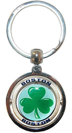 Boston City Shamrock Souvenir Metal Double Spinner Durable Novelty Keychain