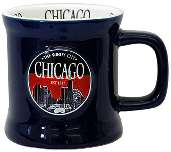 Chicago The Windy City Skyline Souvenir Cobalt Vintage Embossed Durable Ceramic Coffee Mug