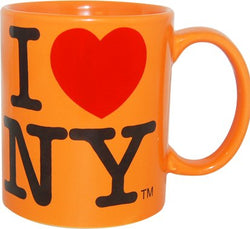 I Love New York Colorful Mugs- 11 oz Double Sided I Love NY Mugs in Colors Yellow, Pink, Orange, Blue, Purple, Black and White Souvenirs (Orange)