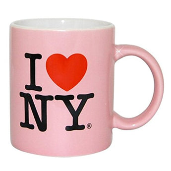 I Love NY Pink I Love NY Mug, 11oz Mug with White Inside, Light Pink Outside I Love NY Souvenir Mugs