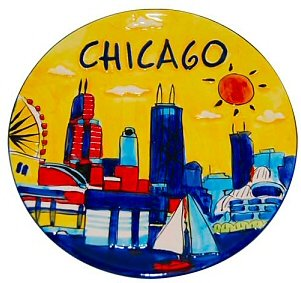 Great Places To You Chicago Hand Painted Yellow Plate, Chicago Souvenirs, Chicago Gifts