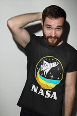 CityDreamShop NASA Retro Rocket-Ship Short Sleeve T-Shirt (Small) Black