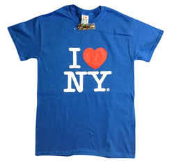 I Love NY New York Short Sleeve Screen Print Heart T-Shirt Royal Blue Large