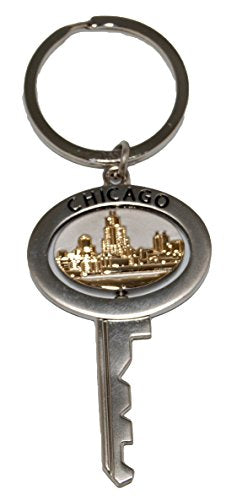 Chicago Souvenir Metal Replica Key Keychain Featuring The Famous Chicago Skyline That Spins