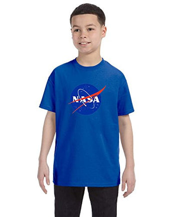 NASA Meatball Logo Youth Shirt Space Shuttle Rocket Science Geek Boys Kids GirlsTee (Medium, Blue)