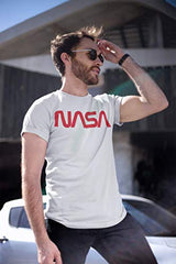 NASA Retro Vintage Designed Worm Logo Short Sleeve Comfortable T-Shirt (M, White)