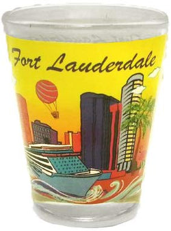 Fort Lauderdale, Florida Yellow Skyline and Cruise Ship Souvenir Shot Glass