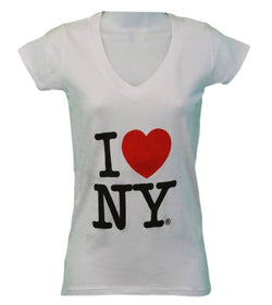 I Love NY New York Womens V-Neck T-Shirt Spandex Heart White (2XL)