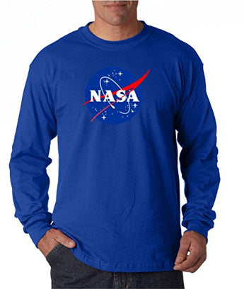econoShirts NASA Meatball Logo Long Sleeve Shirt Space Shuttle Rocket Science Geek Tee (Small, Blue)