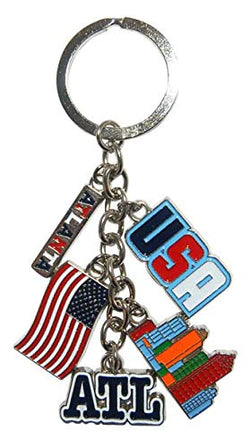 Atlanta GA 5 Charm Souvenir Keychain Featuring Atlanta and USA Charms